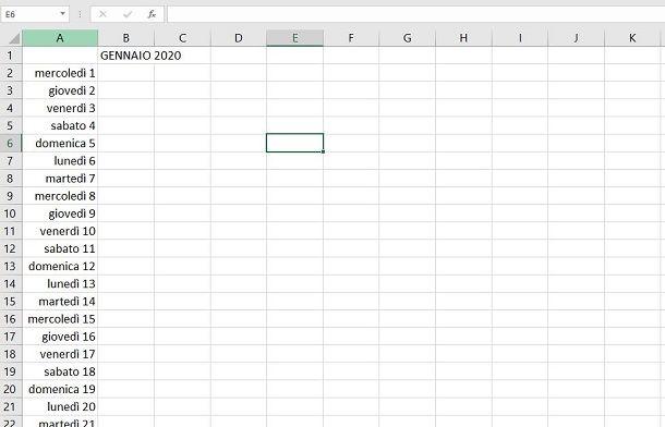 Excel calendario giorni del mese