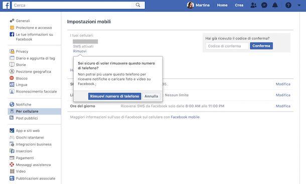 Screenshot che mostra come eliminare il numero su Facebook da Web