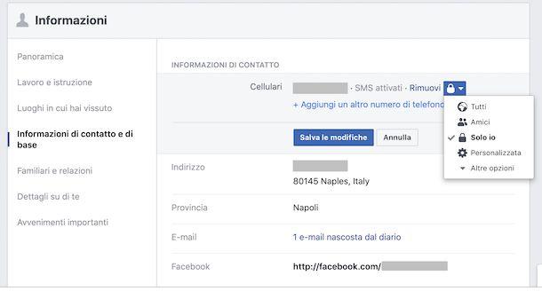 Screenshot che mostra come nascondere il numero su Facebook da Web
