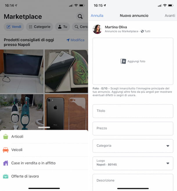 Facebook Marketplace su iOS