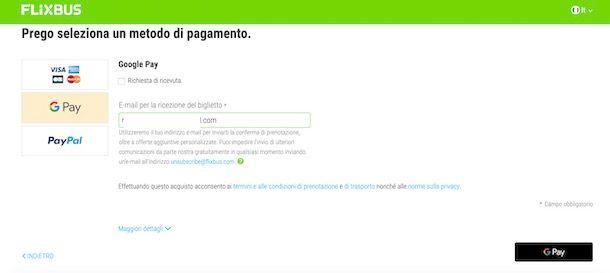 Pagare con Google Pay su altri siti Web