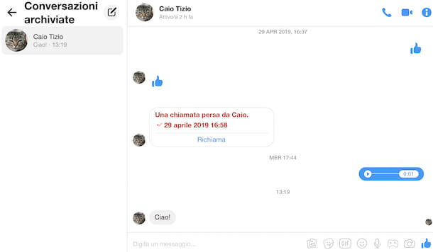 Conversazioni archiviate su Messenger