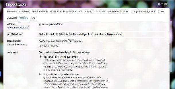 Come funziona Gmail offline su PC