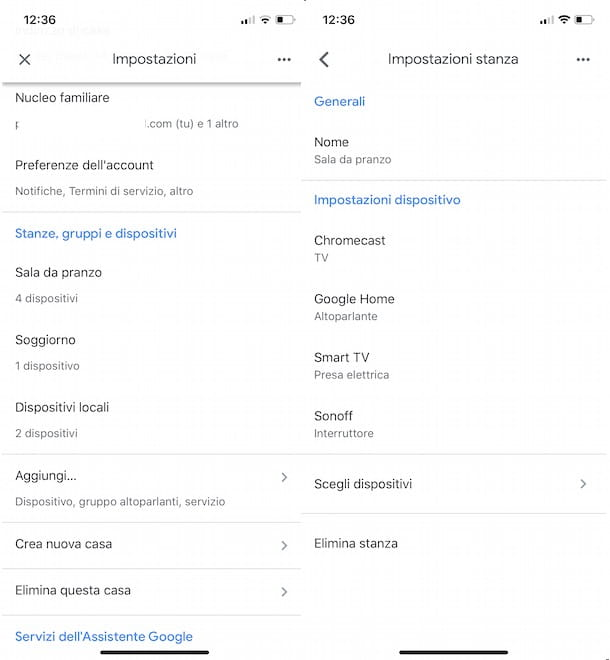 Eliminare casa Google Home