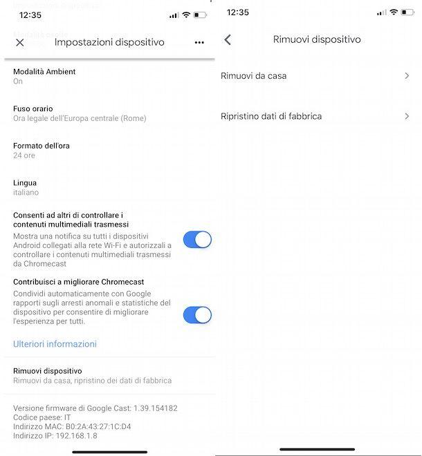 Reset dispositivi Google Home