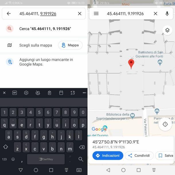 google maps inserire coordinate