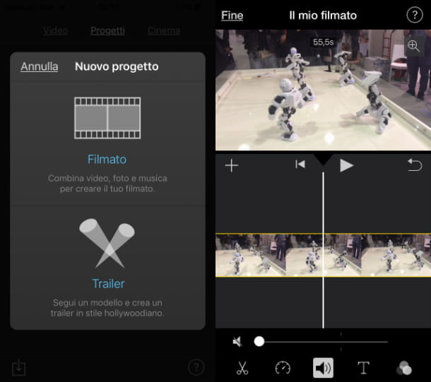 iMovie rimozione audio da video