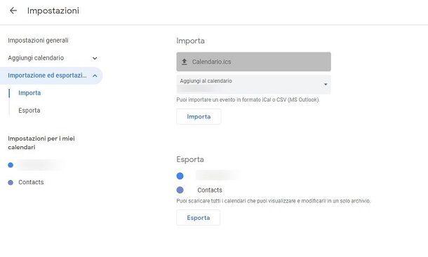 Importazione appuntamenti Google Calendar
