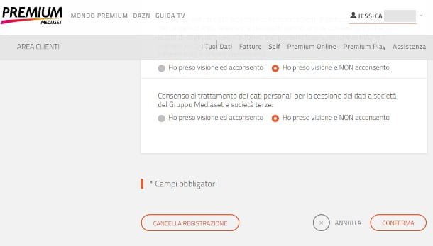 Come eliminare account Mediaset Premium da PC