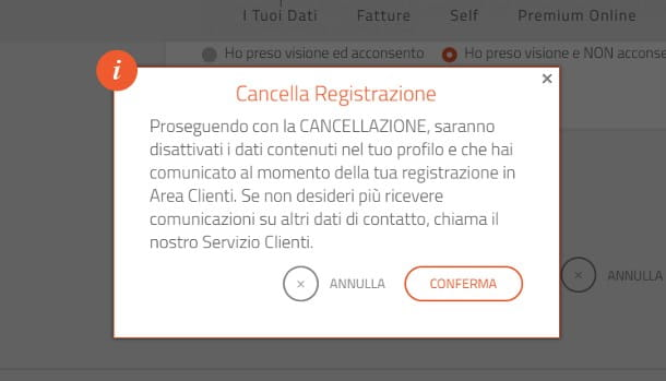Come eliminare account Mediaset Premium