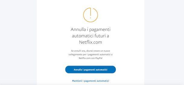 Annullare pagamenti automatici PayPal