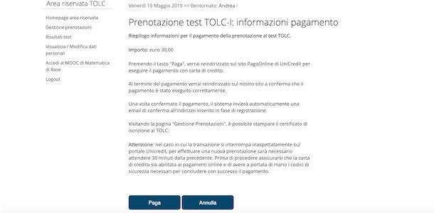 Pagamento TOLC