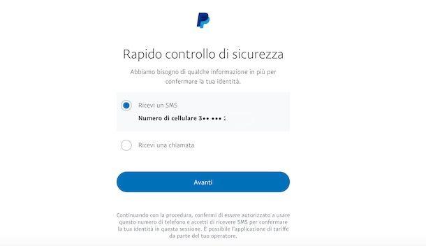 Controllo sicurezza PayPal