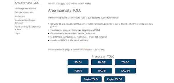 Prenotazione TOLC