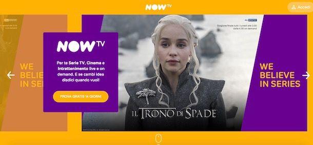 Prova gratuita NOW TV