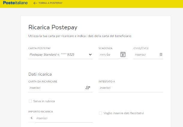 Come ricaricare Postepay di un altro online tramite PC