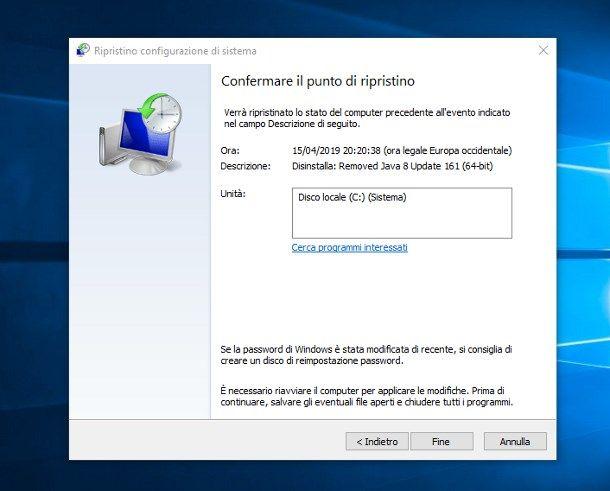 Ripristinare Windows 10 senza perdere dati