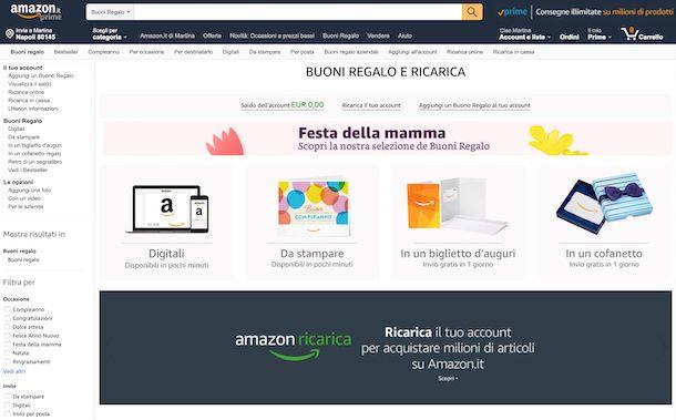 Buoni regalo Amazon