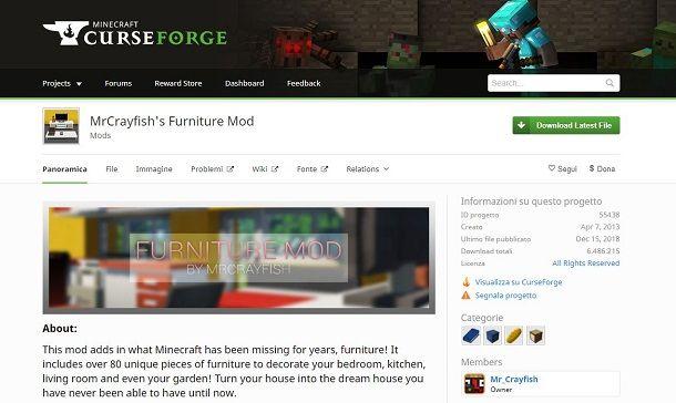 Schermata MrCrayfish's Furniture Mod su curseforge