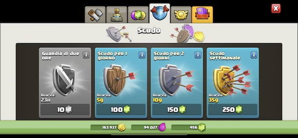 Attivare scudo su Cash of clans