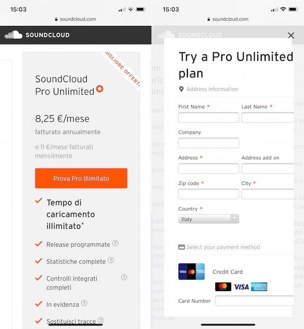 SoundCloud attivazione