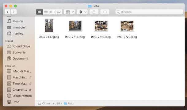 Trasferire foto da Mac a chiavetta USB