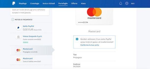 Verifica carta di credito su PayPal