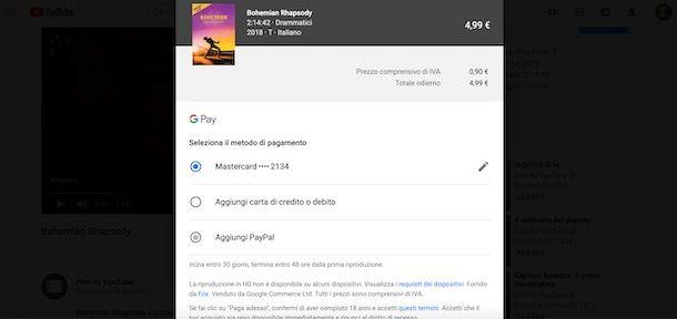 Pagare YouTube con Google Pay