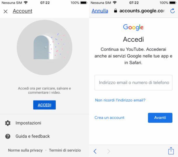 Account Google YouTube