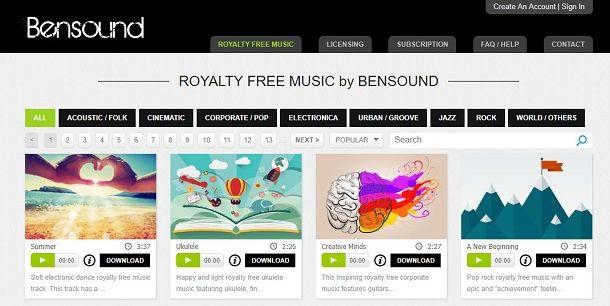 Bensound per scaricare musica
