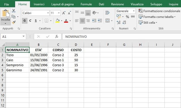 Calcoli complessi in Excel
