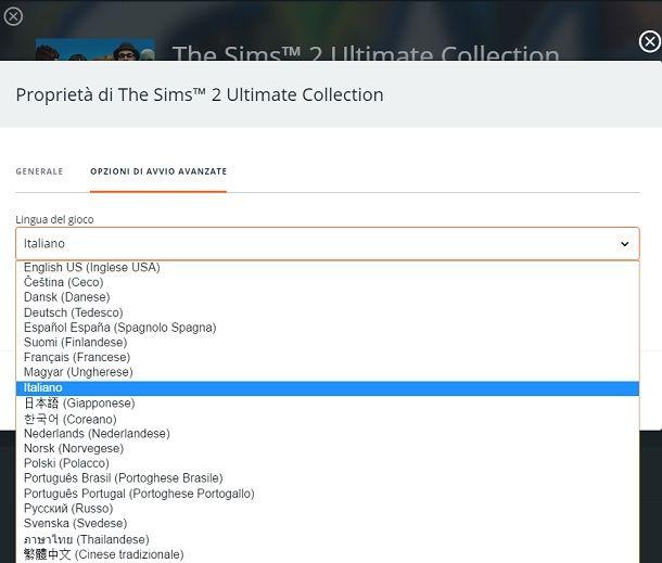 Come cambiare lingua su The Sims 2