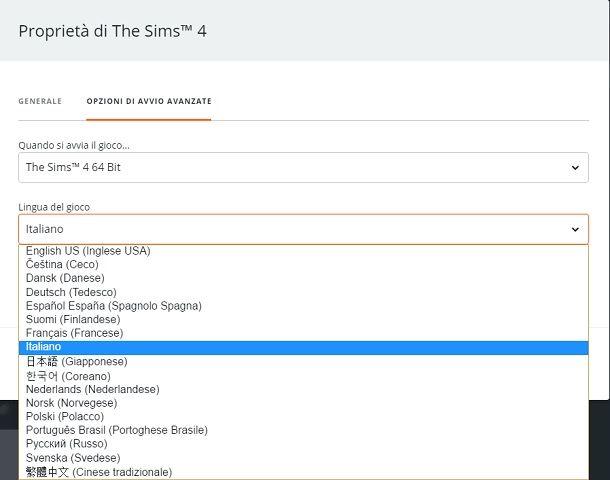 Come cambiare lingua su The Sims 4