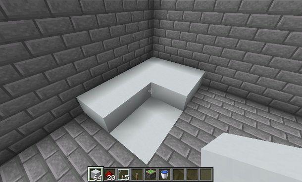 Costruzione elementi su base della doccia Minecraft