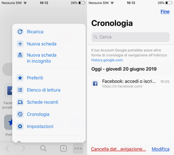 Cronologia Google Chrome su iOS