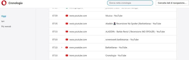 Cronologia Youtube browser