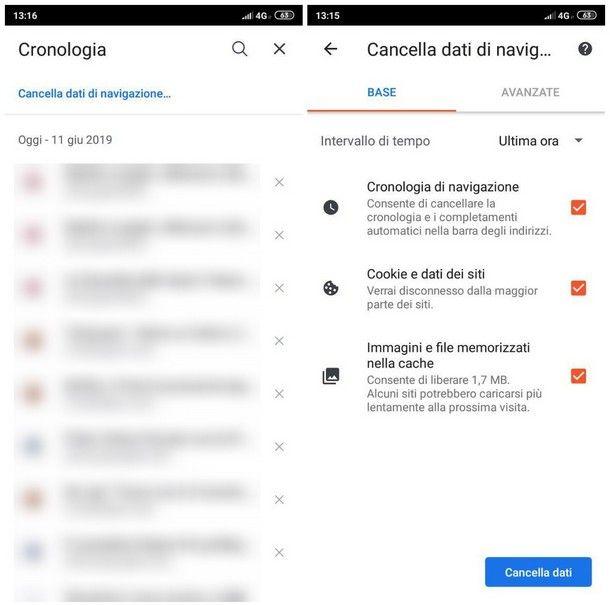 Come pulire cronologia Android