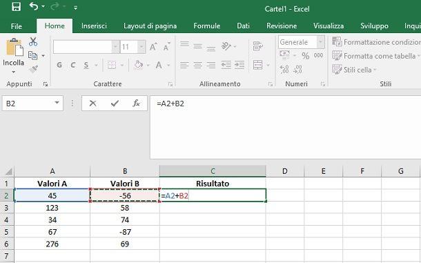 Excel fare calcoli aritmetici