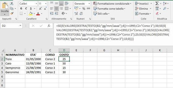 Formula calcolo complesso in Excel