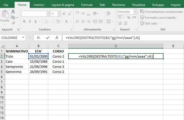 Formula per estrarre anno da data in Excel