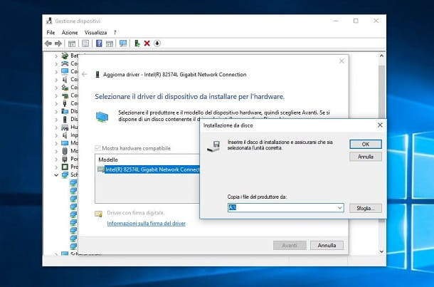 Gestione dispositivi WIndows 10 installazione manuale file INF