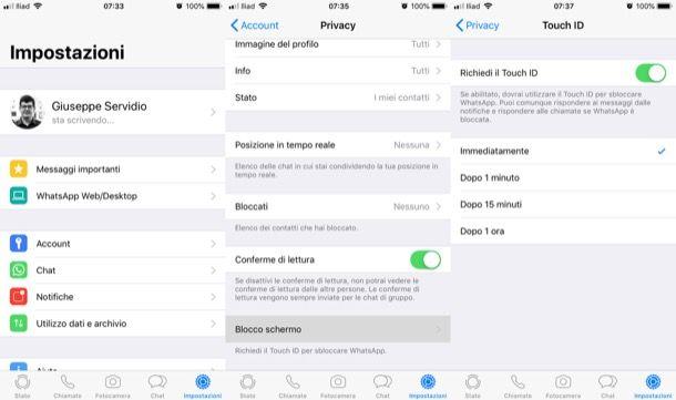 Touch ID attivo su WhatsApp