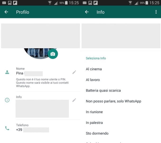 Cambiare frase profilo WhatsApp Android