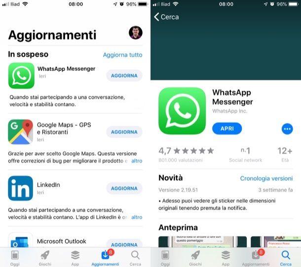 Aggiornare WhatsApp