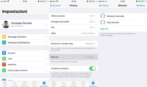 Lista contatti bloccati WhatsApp iPhone