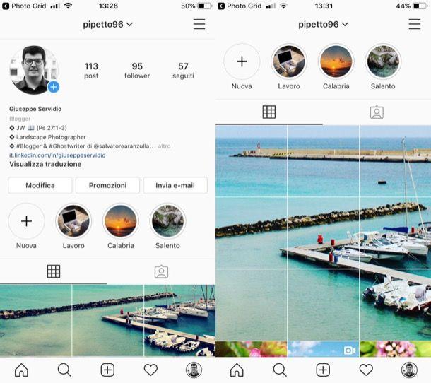 Come pubblicare foto su Instagram divise