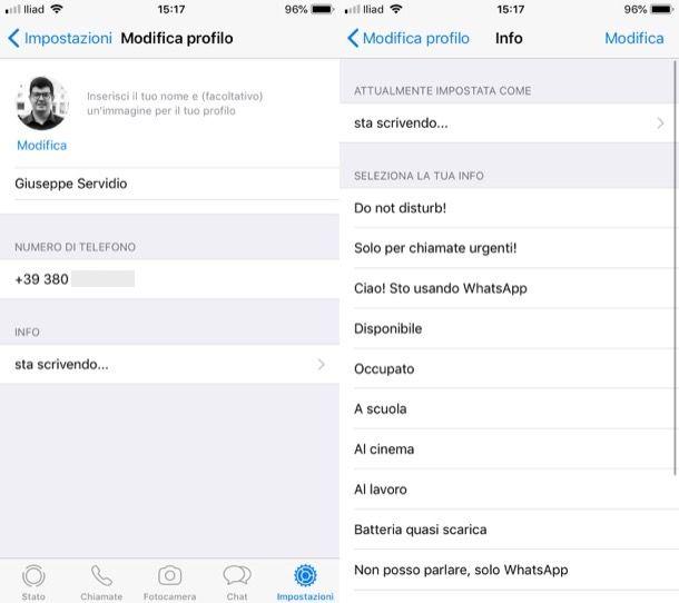Cambiare frase profilo WhatsApp iPhone