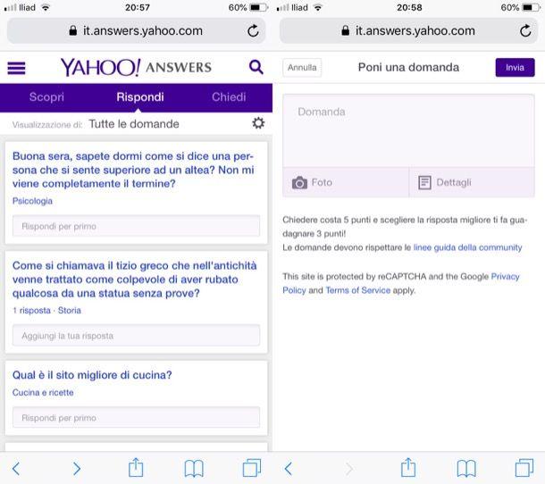 Domande su Yahoo!