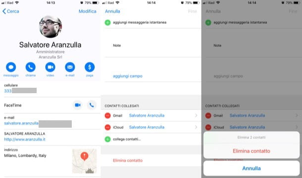 Eliminare contatti su iPhone