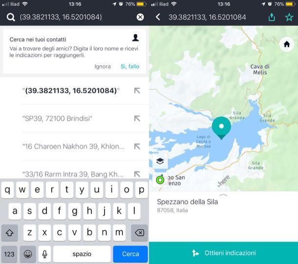 Coordinate GPS navigatore smartphone